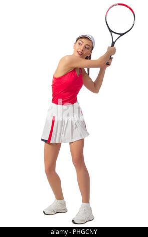 Jeune femme isolée (sans joueur de tennis ball version) Banque D'Images