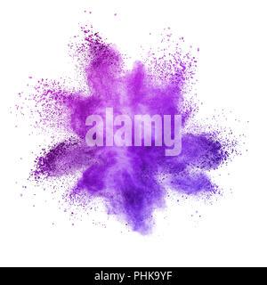Explosion de poudre de couleur, isolé sur fond violet. Banque D'Images