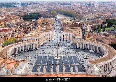 Vue aérienne de Rome, Italie. La Place Saint Pierre au Vatican, Rome, Italie. Banque D'Images
