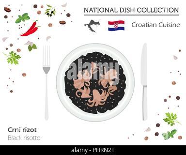Une cuisine croate. Plat national européen collection. Risotto noir isolé sur blanc, infographie. Vector illustration Banque D'Images