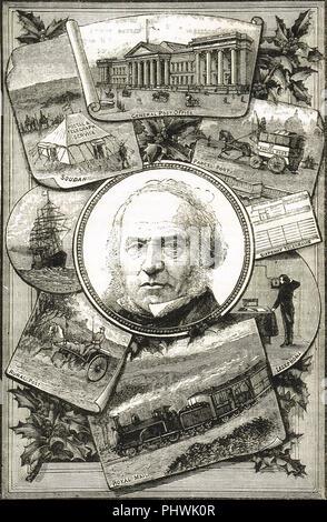 Jubilé de la Penny Post illustration de 1890 Célébrons les 50 ans de l'uniforme Penny Post