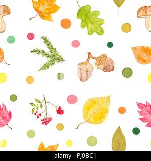 Ensemble d'objets et de points colorés de l'automne, aquarelle peinte et isolé sur fond blanc, motif transparent