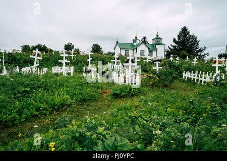 2 AOÛT 2018 - NINILCHIK, ALASKA: la Sainte Transfiguration de Notre Seigneur est une chapelle Eglise orthodoxe russe situé sur la péninsule de Kenai Banque D'Images