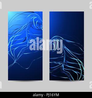 Ensemble de Bannières verticales. Panneaux lignes ondulées sur fond bleu Banque D'Images