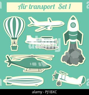 Le transport public, le transport aérien. Icon Set. Vector illustration Banque D'Images