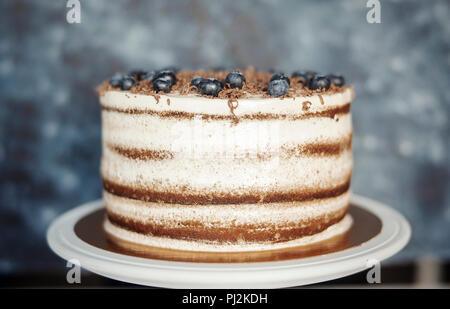 Close up of chocolate cake au fromage à la crème et petits fruits sur fond sombre. Banque D'Images