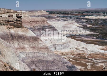 Compte tenu de la couleur Blue Mesa trail dans le Parc National de la forêt pétrifiée de l'Arizona, aussi connu sous le Painted Desert. Banque D'Images