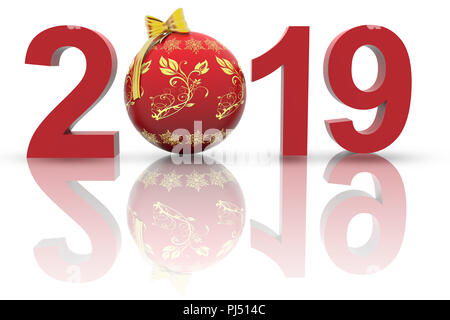 3D illustration. Nouvelle année 2019. Dans la décoration de Noël, le nombre neuf remplace les huit. Banque D'Images