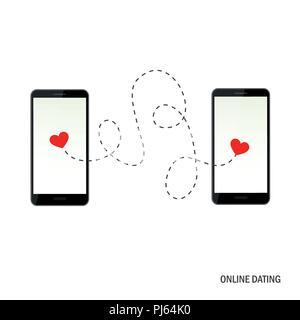 La datation en ligne app concept avec deux coeurs vector illustration EPS10