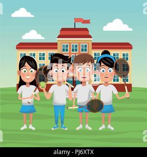L'équipe de l'école de tennis Banque D'Images