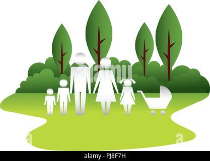 Silhouette de la famille et baby voir en mode paysage
