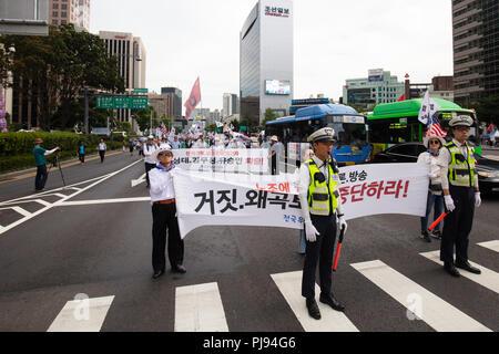 Séoul, Corée du Sud - le 18 août: des milliers de Sud-coréens protester contre le président sud-coréen Moon Jae-in et montrer leur soutien à la Chine sur sa Banque D'Images