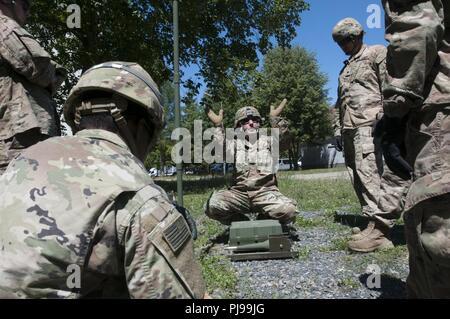 Le sergent de l'armée américaine. David Nelson, un spécialiste des systèmes de soutien du signal affecté à 218e Bam à l'appui de Resolute Château 2018, explique l'incidence quasi verticale de l'antenne de skywave la théorie à des membres de la société B, 151e Bataillon des transmissions de l'expéditionnaire au cours d'une radio haute fréquence class enseignés par Nelson. La 218e BAM, l'avant, et Cie B, 151e ESC, les deux unités sont membres de la Garde nationale de Caroline du Sud et a été déployé en Pologne à l'appui de la résolution de l'Atlantique. Banque D'Images