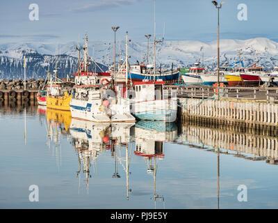 13 avril 2018: Husavik, Nord de l'Islande - bateaux de pêche dans le port par un beau jour de printemps. Banque D'Images
