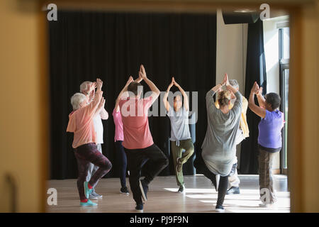 Les aînés actifs exerçant en cercle, pratiquant le yoga posture de l'arbre Banque D'Images