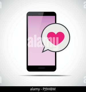 Coeur rose communication message avec smartphone vector illustration EPS10
