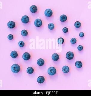 Mise à plat de l'arrière-plan de couleur pastel sur les bleuets.