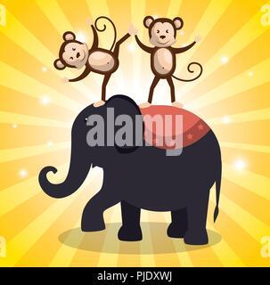 Spectacle de cirque de l'éléphant d'icônes
