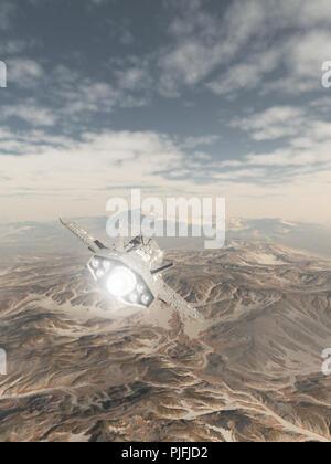 Vaisseau spatial survolant un paysage de montagne enneigé