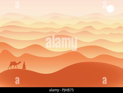 Homme avec des promenades à dos de chameau dans le désert seul sous le soleil brûlant, vecteur. Banque D'Images