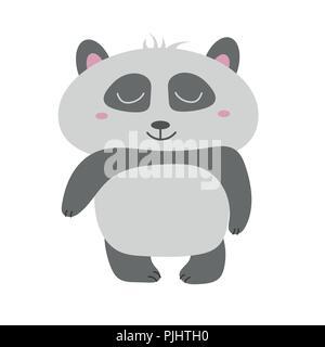 Panda Bear Cute vector illustration. Vecteur Animal panda dessiné à la main. Banque D'Images