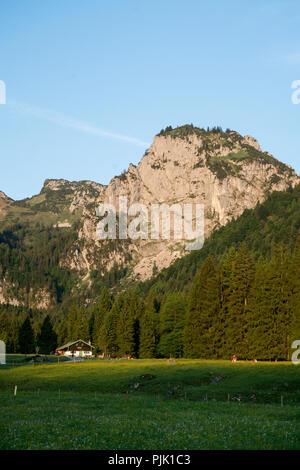 Längental avec Alm, près de Bad Tölz, Alpes bavaroises, Bavière, Allemagne Banque D'Images