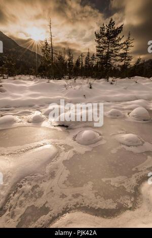 Coucher du soleil dans l'hiver, les zones humides de l'Isar, la glace et la neige Hill dans le lit, dans l'arrière-plan forest edge et le ciel du soir, or