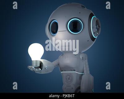 Cute rendu 3d intelligence artificielle robot avec lightbulb Banque D'Images