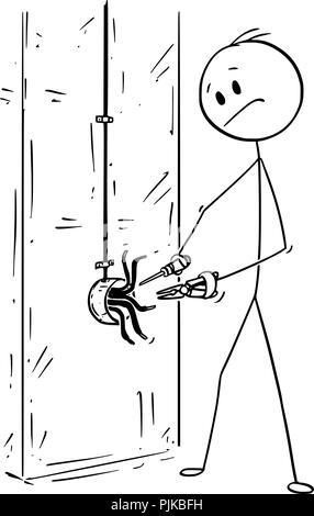 Caricature de l'homme ou l'électricien travaillant sur des conducteurs électriques et câblage Banque D'Images