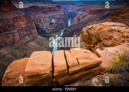 Grand Canyon de Toroweap Point. Le Grand Canyon est un canyon aux flancs abrupts sculptés par le fleuve Colorado dans l'état de l'Arizona. Banque D'Images