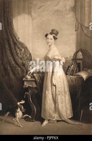 Plus tard, la reine Victoria, la princesse avec son chien préféré Dash, vers 1832, 13 ans Banque D'Images