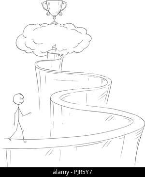 Caricature de l'homme ou homme d'affaires à monter le chemin du Paradis pour son rêve et le succès Banque D'Images