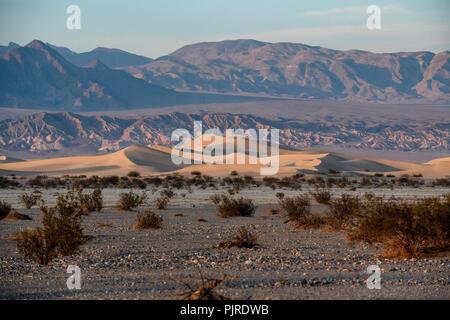 Télévision Mesquite Sand Dunes, Amargosa range dans la distance, le coucher du soleil, la Death Valley National Park, California, USA