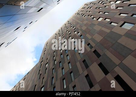 Détail de la construction dans le quartier de Poblenou, Barcelone, Catalogne, Espagne. Banque D'Images