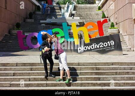 PLOVDIV, BULGARIE - Mai 2018 - Centre de Plovdiv, en Bulgarie. Plovdiv sera capitale européenne de la Culture en 2019. Banque D'Images