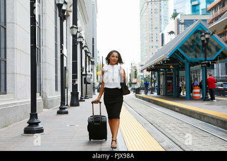 Businesswoman pulling luggage aux côtés de train Banque D'Images