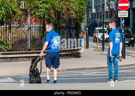 Chiens guides d'Aveugles Association chien-guide de la formation dans le centre de Londres. Banque D'Images