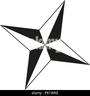 Noir et blanc 4 étoiles point silhouette Banque D'Images