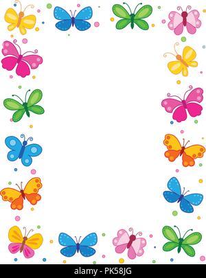 Papillons colorés / frontière / contexte du châssis Banque D'Images