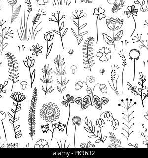 Transparente Floral pattern. Vintage avec différents doodle plantes et fleurs. Banque D'Images