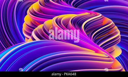 Contexte avec rendu 3D abstract ondes liquides en mouvement. Banque D'Images