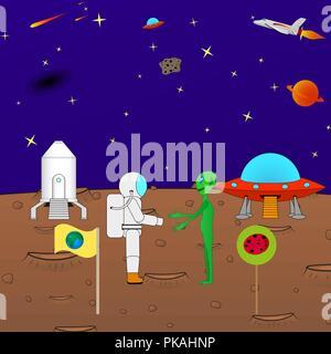 Belle caricature drôle de fond le cosmos Banque D'Images