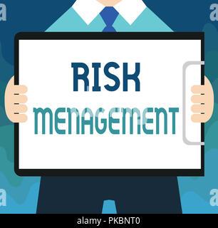 Texte de l'écriture de la gestion des risques. L'évaluation financière des sens Concept dangers ou des problèmes avec les procédures. Banque D'Images