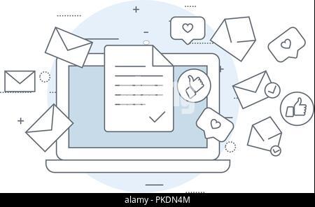 L'icône d'email marketing - ordinateur portable et battant des enveloppes, mailing, e-mail concept livraison Banque D'Images