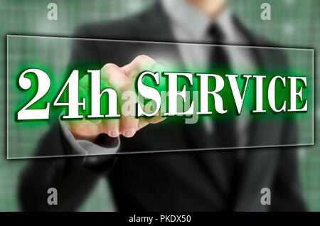 Service 24h icône sur l'écran virtuel. Banque D'Images