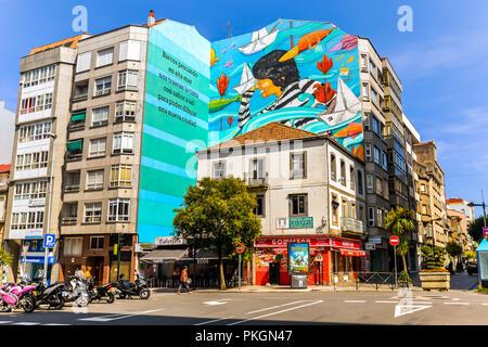 Photo murale à Vigo, Galice, Espagne Banque D'Images