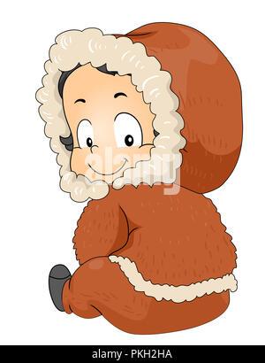 Illustration d'un enfant tout-petit garçon assis sur le plancher portant Costume Esquimaux Banque D'Images