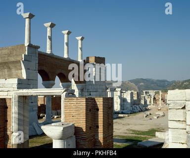 La Turquie. La province d'Izmir. Selcuk. Basilique de Saint John. Il a été construit par Justinien, 6e siècle, transformée en mosquée en 1330 et détruit par Timur lorsqu'il conquit la ville en 1402. Vue générale des ruines. Banque D'Images