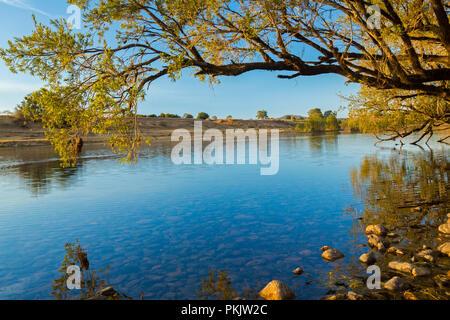 Calme les eaux bleues de la rivière Clarence par découpage du paysage forestier sous ciel bleu dans le nord du NSW Australie Banque D'Images