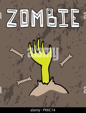 Carte de souhaits pour l'Halloween avec un zombie part et lettrage dessiné à la main. Banque D'Images